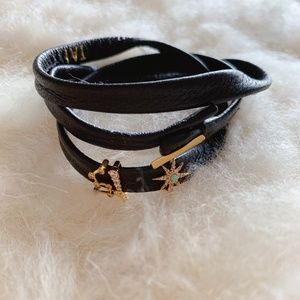 Tai Leather Wrap Charm Bracelet